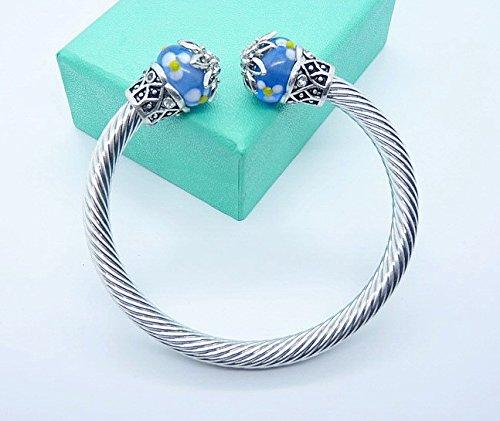 Zoll-glas-perlen 2 (Tibetische Silber Antik Armbänder Mädchen Glas Bead National Wind Hand Ring auf die Maiden Honig Geburtstagsgeschenk)