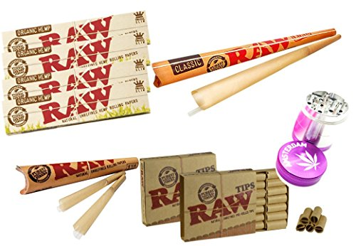 Raw Smoking Kit Raw Organic Hemp Rolling Papers 5 Packs & 2 Raw Pre Rolled  tips & Raw Pre Rolled Cones & Large Raw Pre Rolled Cone & Pink Amsterdam
