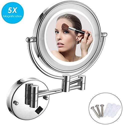 WTTWW Espejo de Pared, Espejo de Pared baño con luz, 3X / 5X / 7X / 10x aumentos, Doble Cara Redonda...
