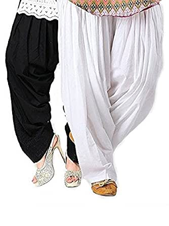 Pistaa Black & White Cotton Patiala Salwar
