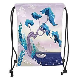 Drawstring Backpacks Bags,Coastal Decor,Fantastic Landscape Bonsai Tree Sea Water Lilies Daisies and Boat,Blue Light Blue Lilac Soft Satin,5 Liter Capacity,Adjustable String Closur