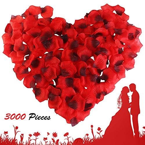 isimsus Rosenblätter, Rosenblüten Künstlich Rosenblätter Tischdekoration Hochzeit für Hochzeit Party Romantisches Deko Atmosphäre Valentinstag Überraschung Jahrestag - 3000 Stück, Rot