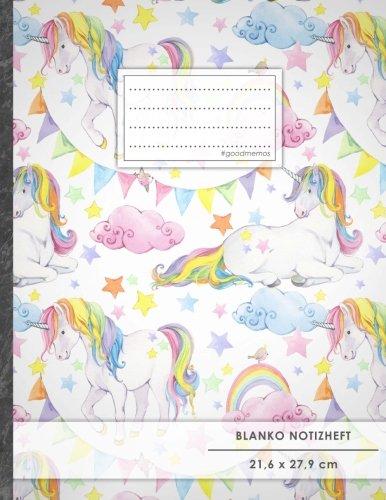 """Blanko Notizbuch • A4-Format, 100+ Seiten, Soft Cover, Register, """"Einhorn Regenbogen"""" • Original #GoodMemos Blank Notebook • Perfekt als Zeichenbuch, Skizzenbuch, Blankobuch, Leeres Tagebuch"""