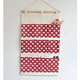 GWELL Rot Baumwollbeutel Wand Hängeaufbewahrung Utensilientasche Ordnungssysteme Beutel 8 Tasche