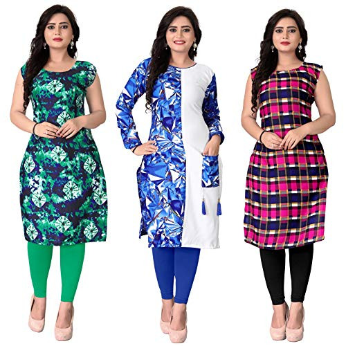 Pramukh Fashion Semi Stichead Pack of 3 Kurtis Comb(1053.1057.poket blue)
