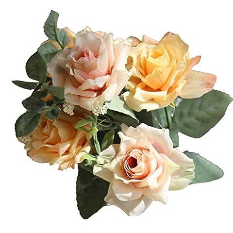 Longra Wohnaccessoires & Deko Kunstblumen 1Bouquet 6 Köpfe künstliche Rosen Seide Blume Blatt Home Hochzeit Party Bridal Hydrangea Decor Fake Blume (E)