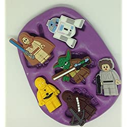 Star Wars molde de silicona/mold. Lego Disney characters. topper. cupcake. r2d2.c3po.