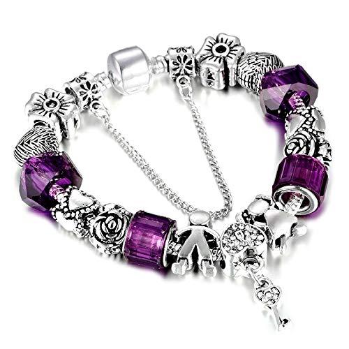 FGTYJ Key Charm Armband Mit Glasperlen Armband Für Frauen DIY Schmuck Geschenk (Charms Key Herren-armbänder Mit)