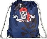 Baagl Turnbeutel für Junge, Wasserdichte Schuhbeutel für Kinder, Schule und Kindergarten Sportbeutel, Sportrucksack (Piraten)