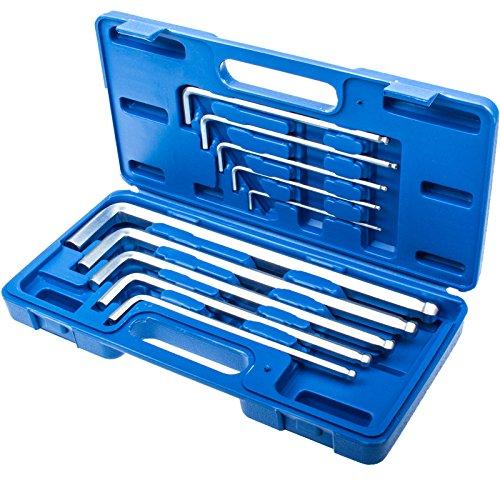 Extra Lang 10 tlg. Innensechskantschlüssel Set Schraubendreher Satz 6-Kant einseitig mit Kugelkopf Stiftschlüssel Inb.
