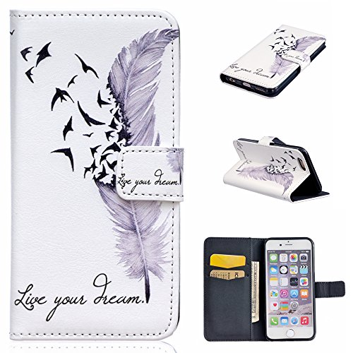 iPhone 5C Coque, Linvei Apple iPhone 5C Coque Housse Etui Étui en cuir Anti Scratch Back Cover Bumper Case for Apple iPhone 5C White Feather
