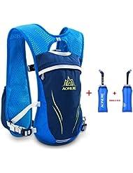 AONIJIE Unisex 5.5L Running race chaleco sistema de hidratación mochila de hidratación, 2botellas, Blue 2