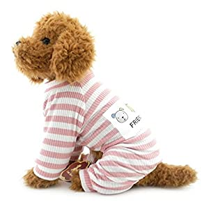 Selmai à rayures tenues pour petit chien pour animal domestique Coton Pyjama Doggie JumpSuit Puppy Vêtements