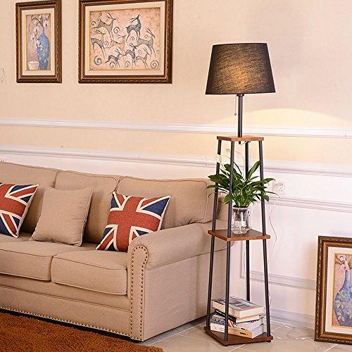 Schmiedeeisen-sofa (JUEJIDP Massivholz + Schmiedeeisen Sofa Stehleuchte Ablageboden, Schlafzimmer Wohnzimmer einfache moderne kreative Nachttischlampe Tischlampe Stehlampe (Farbe : Braun))