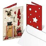 ANGEBOT ABVERKAUF SET 10 Stück rot weiß schwarze nostalgische Weihnachtskarten OHNE Text im vintage look; Doppelkarte 10,5 x 14,8 cm geklappt MIT KUVERT für Geschäftskunden geschäftlich, Kunden
