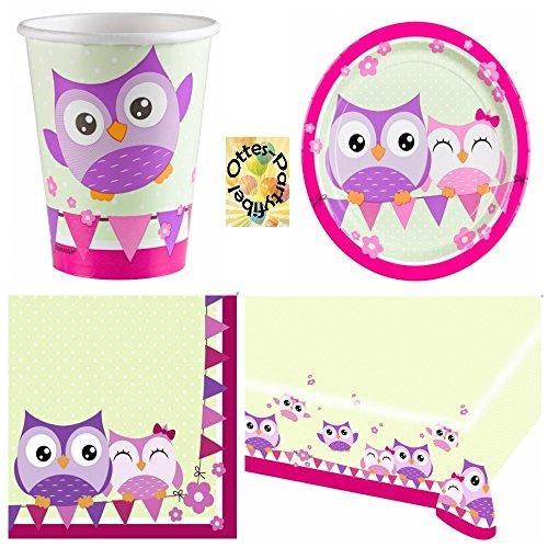 Happy Owl Lustige Eule Partyset 53 Teile Becher Teller Servietten Tischdecke für 16 ()