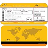 Einladungskarten Geburtstag als Flugticket (+ Ihren Daten und Texten) in Gelb Geburtstagseinladungen 20 30 40 50 60 70 Einladung