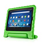 TNP Shock Proof Case for All New Fire HD 8 Tablet (7th Gen, 2017 Release) - For Kid Friendly Child Proof Anti Slip Impact Drop Light Weight Convertible Handle Stand Cover Protective Case (Green)