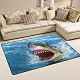 Bag shrots White Shark Jumping out of Water with Its Open Mouth Non-Slip Doormats Door Mat Mud Dirt Trapper Mats Entrance rug Shoes Scraper Floor Indoor/23.6x15.7 inch