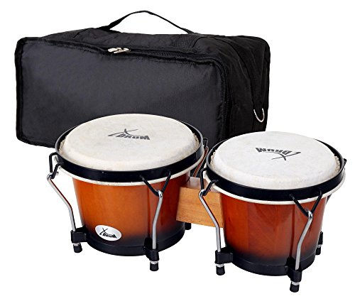 "XDrum Bongo Club Standard Sunburst SET 6"" Macho und 7"" Hembra Holz Percussion Holzbongo Naturfelle Trommel inkl. Bongotasche"