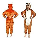 Costume pyjama d'ours adulte déguisement S Marron