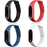 Mi Band - Cinturino di ricambio in silicone per smartwatch Xiaomi Mi Band 2, 4 pezzi, multicolore, red black white blue