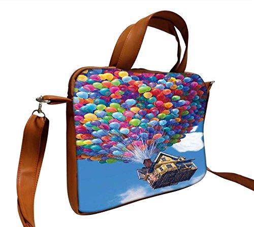 Snoogg Ballon House 35,6cm Zoll auf 36,8cm Zoll auf 37,1cm Zoll Kunstleder Laptop Notebook Schuber Sleeve, der Fall mit und Schultergurt für MacBook Pro Acer Asus Dell HP Sony Toshiba