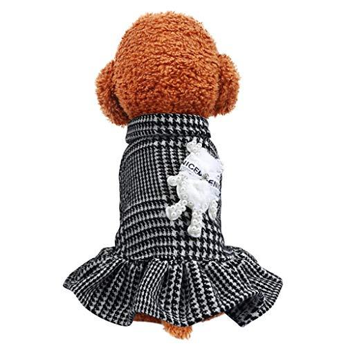 Smniao Haustier Kostüm Hunde Kleidung für Kleine Hund Warm Schwarz Weiß Gitter Kleid für Chihuahua Welpen passt Hunde Gewicht unter 9 KG (S, - Schwarze Und Weiße Welpen Kostüm