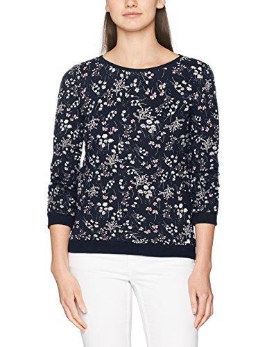 TOM TAILOR Denim Damen Sweatshirt Flower Sweat w/Gathered Sleeve, Blau (Real Navy Blue 6593), 36 (Herstellergröße: S) (3/4 Sleeve Denim Pullover)
