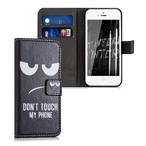 kwmobile 20207.14 Handy Tasche 10,2 cm (4 Zoll) Brieftasche schwarz, weiß - Handyhüllen (Geldbörse, Apple, iPhone SE/5/5S, 10,2 cm (4 Zoll), schwarz, weiß)