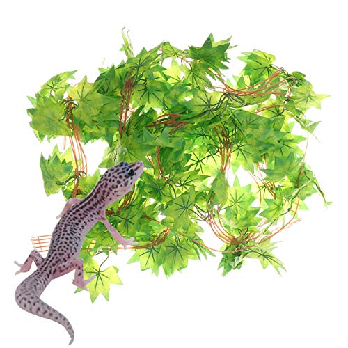 POPETPOP Reptilien-Hängepflanze simuliertes grünes Ahorn-Rebe-Rattan Künstliche Kunststoff Blätter Pflanze für Reptile Habitat Decor