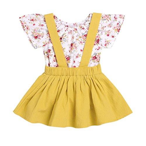 Rock Säugling Baby Mädchen Blumen Drucken Strampelhöschen Overall Gurt Outfits Einstellen