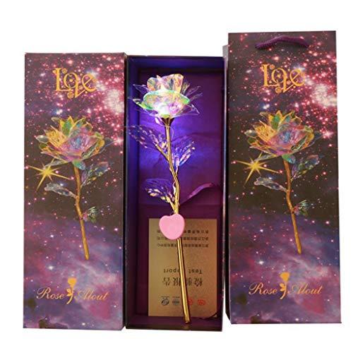 TIREOW 24K Goldfolie Leuchtendes Künstliches Rose Ewige Blume Mit Licht Geschenk Für Hochzeit Geburtstag Jahrestag Valentinstag Muttertag (C 3)