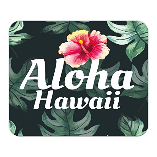 Gaming Mauspad mit Fotodruck Mousepad 220 x 180 mm Rutschfest Schwarz Fransenfreier Rand Präzision Urlaub Reisebüro Hawaii Aloha bedruckt -
