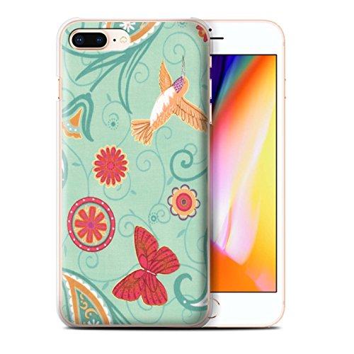 Stuff4 Hülle / Case für Apple iPhone 8 Plus / Grün/Orange Muster / Frühlingszeit Kollektion Grün/Rot