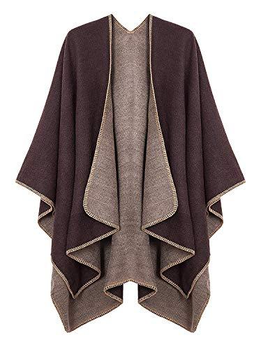 Damen Poncho Habe Gestrickt Kaschmir Überdimensionalen Decke Kap-Schal (One Size, Kaffee)