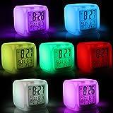 Jago - Réveil cube lumineux - 7 couleurs de lumière LED changeantes - 8 mélodies - date et ...