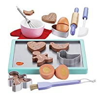 Wooden Cookie Play Food Set; Cookie Baking Set with Wooden Play Food Accessories for Kids Cooking Set; Wooden Pretend Play Food Set and Wooden Kitchen Accessories; Wooden Toy Biscuits Baking Kitchen Playset; Children Pretend Play Food Wood Set