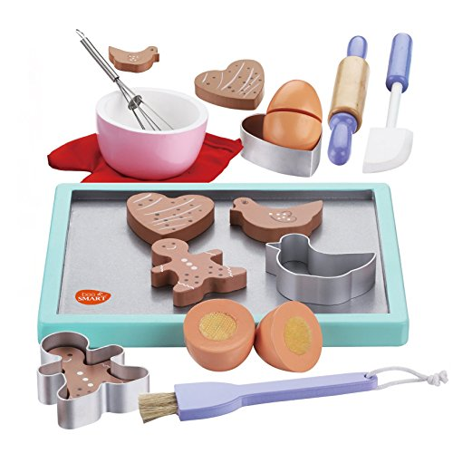 Bee Smart - Wooden Cookie Play Food Set; Cookie Baking Set with Wooden Play Food Accessories for Kids Cooking Set; Wooden Pretend Play Food Set and Wooden Kitchen Accessories; Wooden Toy Biscuits Baking Kitchen Playset; Children Pretend Play Food Wood Set