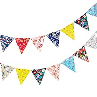 Lumanuby Party Paper Colorful Flag Bunting Flags Floral Paper Bunches Birthday Festivals Paper Ornaments For Birthday Hen Party Decoration (With A Rope 3M)