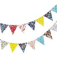 Vikenner Bunting Colorido Bandera de Papel Colgante Guirnaldas Florales Banner con 3 m Cuerda para cumpleaños Decoración de la Sala de Bodas - 12 Banderas