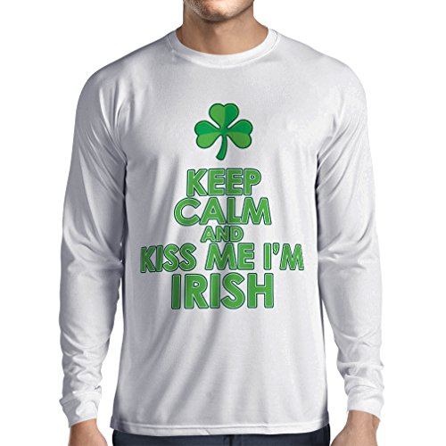 T-shirt manica lunga da uomo Kiss me I'm Irish, Saint Patrick day jokes quotes shirts (Medium Bianco Multicolore)