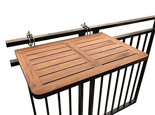 Balkontisch zur Befestigung am Balkongeländer von Click-Deck, Hartholz-Tisch zum Aufhängen am Geländer, Tisch, Esstisch, Garten, Grillen, Beistelltisch