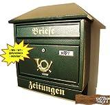 Schöner Design Briefkasten W grün moosgrün großer Einwurf Zeitungsfach Zeitungsrolle Nostalgie