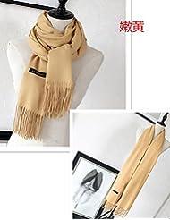 Hombres y mujeres coreanas en el otoño y el invierno la bufanda de lana chal de cachemir Collar caliente All-Match Dual-Purpose estudiantes,Amarillo y tierno