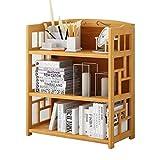 QHD Bücherregal, Boden Studentenheim einfache Bücherregal baute Bambus und Holzregale DREI Etagen Bücherregal (größe : 70 * 25 * 80cm)