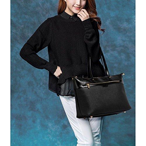 TrendStar Frauen Designer Taschen Patent Schulter Berühmtheit Stil Trage Damen Mode Handtaschen (C - Rot) C - Schwarz