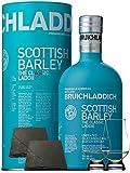 Bruichladdich Scottish Barley Laddie Classic 0,7 Liter + 2 Glencairn Gläser und 2 Schieferuntersetzer quadratisch 9,5 cm