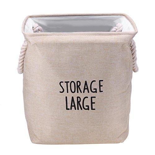 woyiazt Faltbare Vorratsbehälter Container Wäsche Organizer Seil Stoffkorb (Beige) -