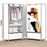 N&B Kleider Schrank Portable Garderobe langlebige Kleidung lagerung vliesstoff kleiderschrank lagerung Organizer mit Hängende Rute und 2 Einlegeböden-A 160x90x45cm(63x35x18)